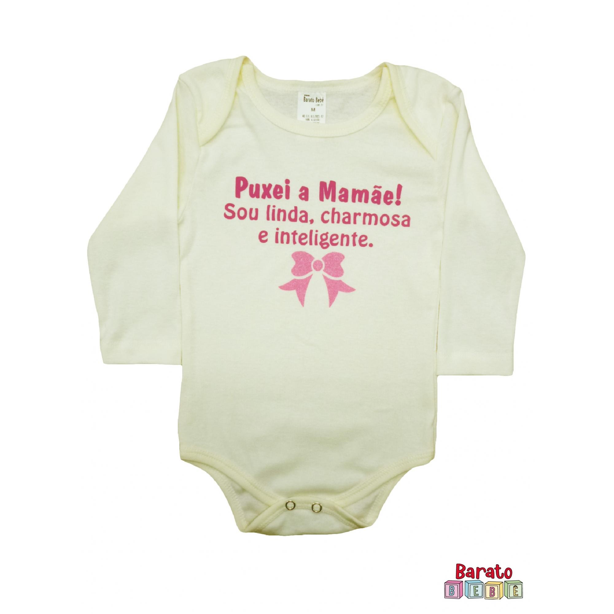 Body Bebê ML (P/M/G) -  Puxei a Mamãe - Barato Bebê - Off-White