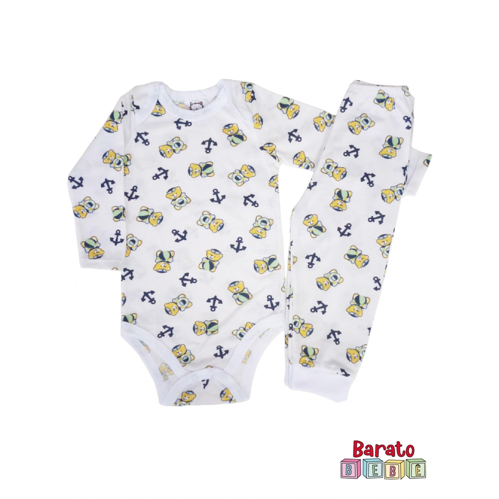 Conjunto Body Bebê Menino com Estampa Ursinho Marinheiro  Branco (RN-P-M-G)