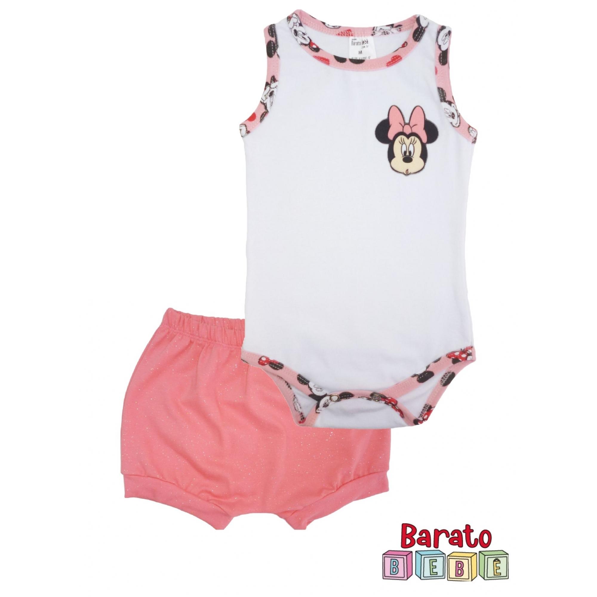 Conjunto Body Bebê  Regata e short (P/M/G) - Barato Bebê - Menina