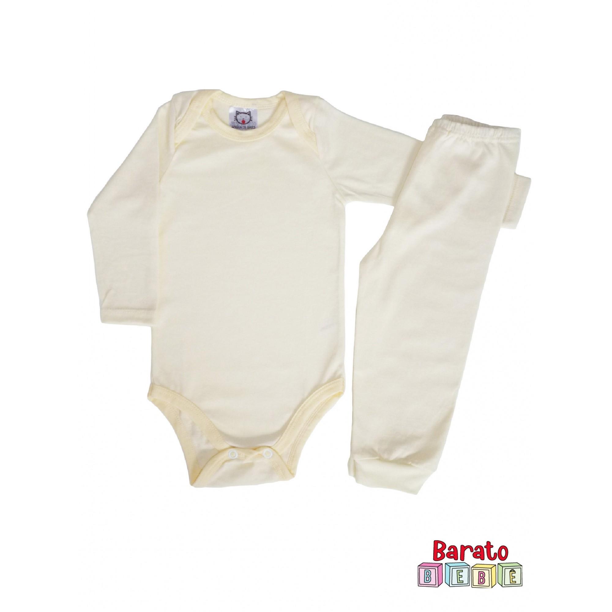 Conjunto Body Bebê Unissex – Amarelo (RN-P-M-G)