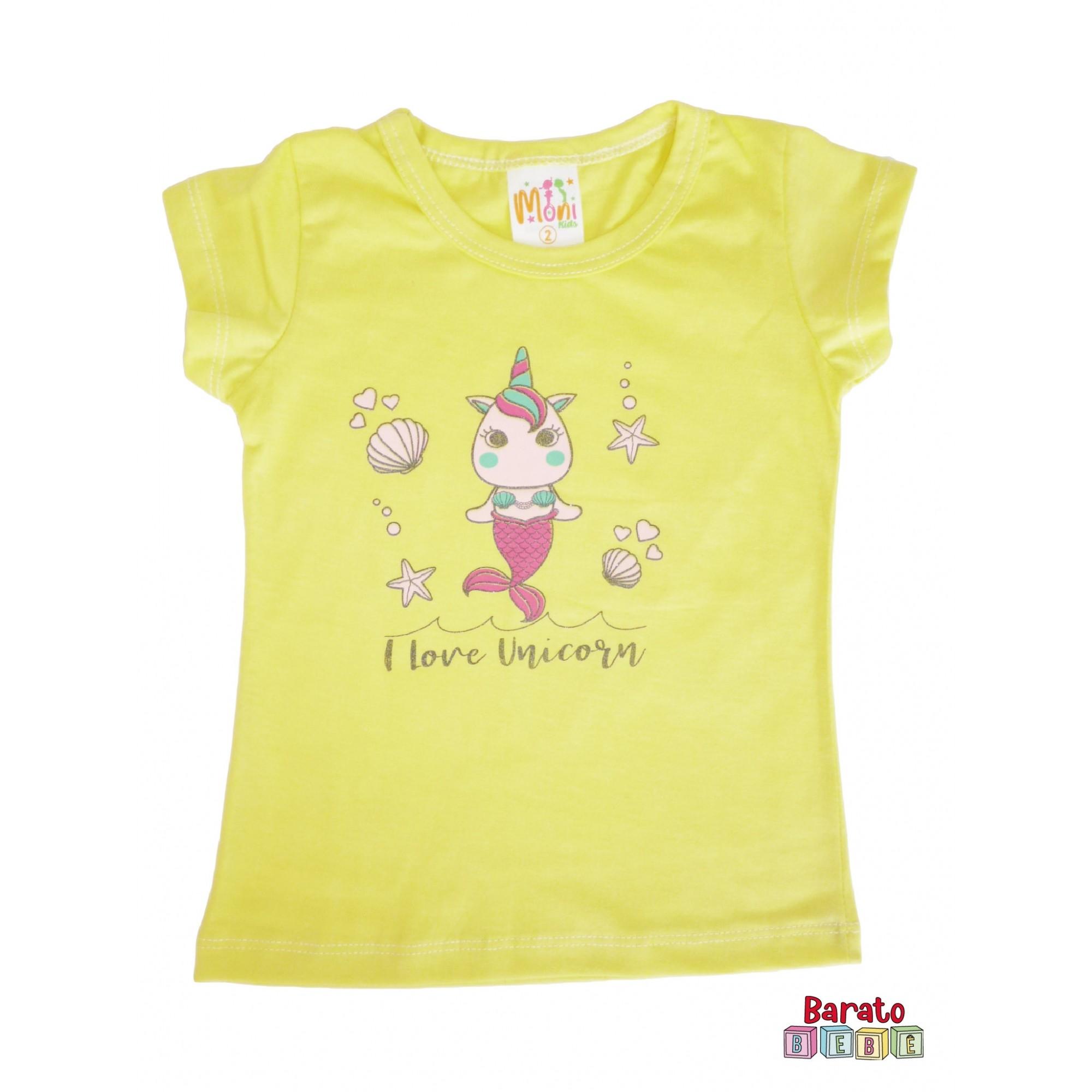 Conjunto Infantil Menina Amarelo - I Love Unicórnio