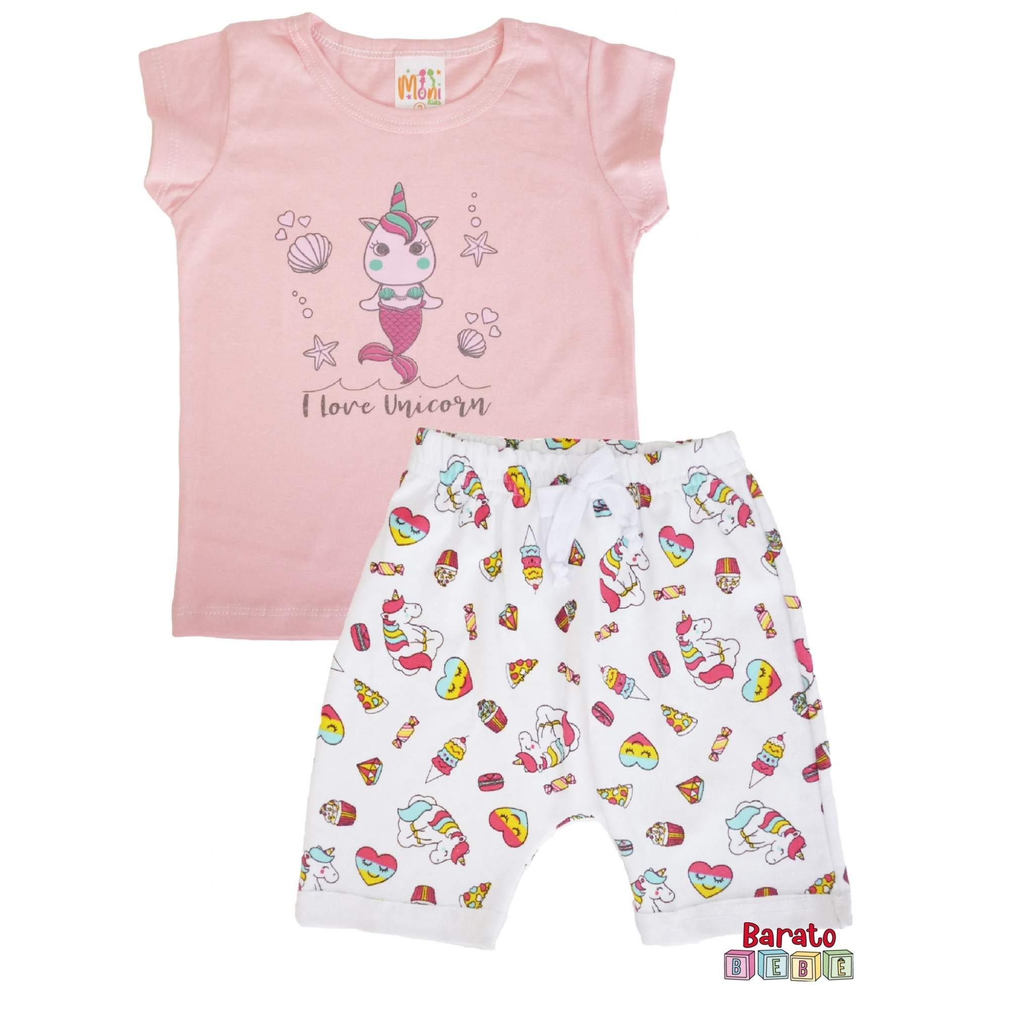 Conjunto Infantil Menina Rosa - I Love Unicornio