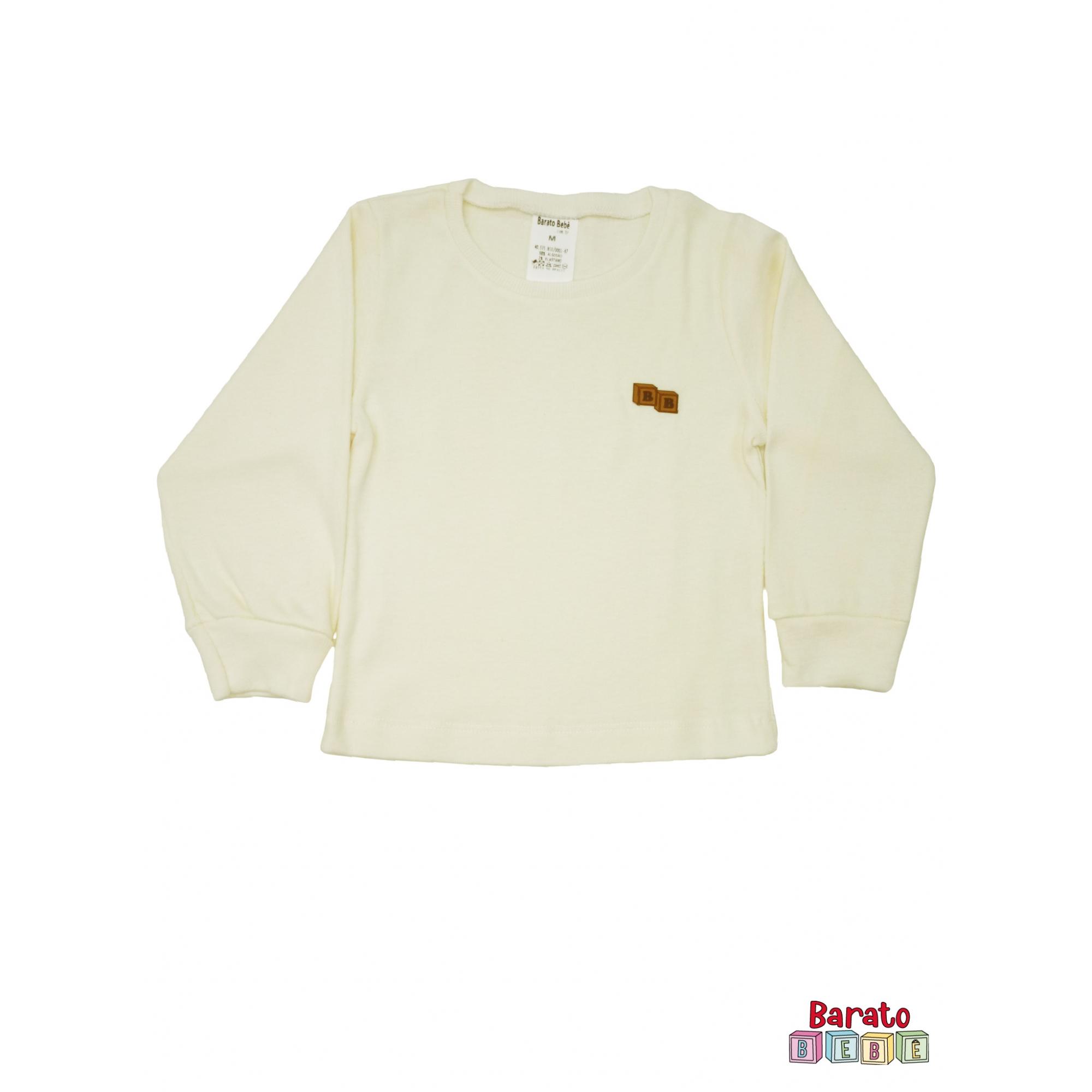 Conjunto Pijama Longo Bebê (P-M-G-GG)- Barato Bebê - Off White