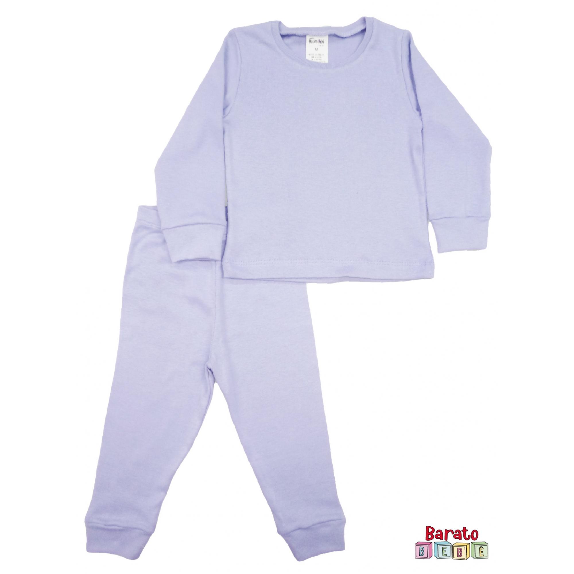 Conjunto Pijama Longo Bebê (P-M-G-GG)- Barato Bebê - Lilás -Liso