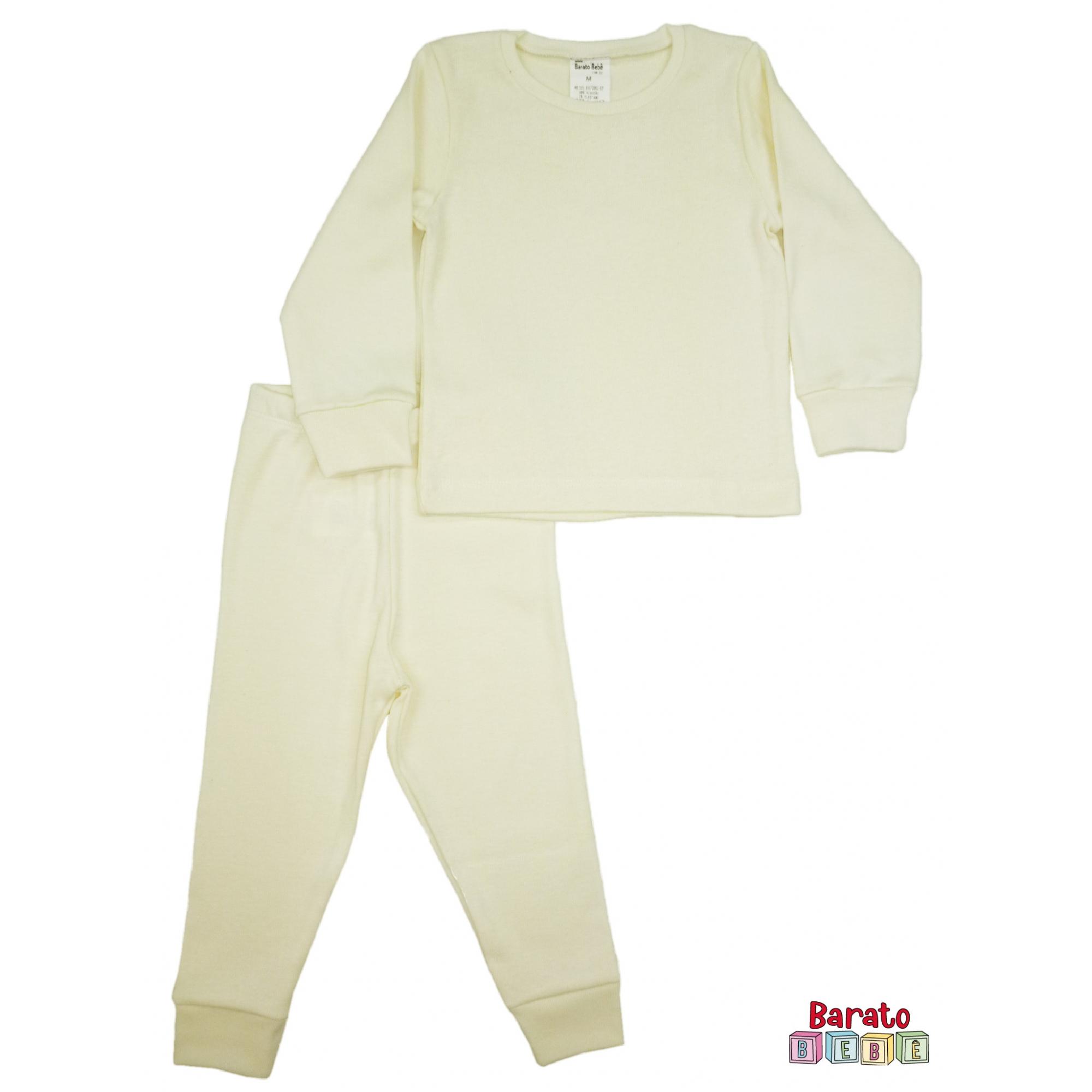 Conjunto Pijama Longo Bebê (P-M-G-GG)- Barato Bebê - Off White -Liso