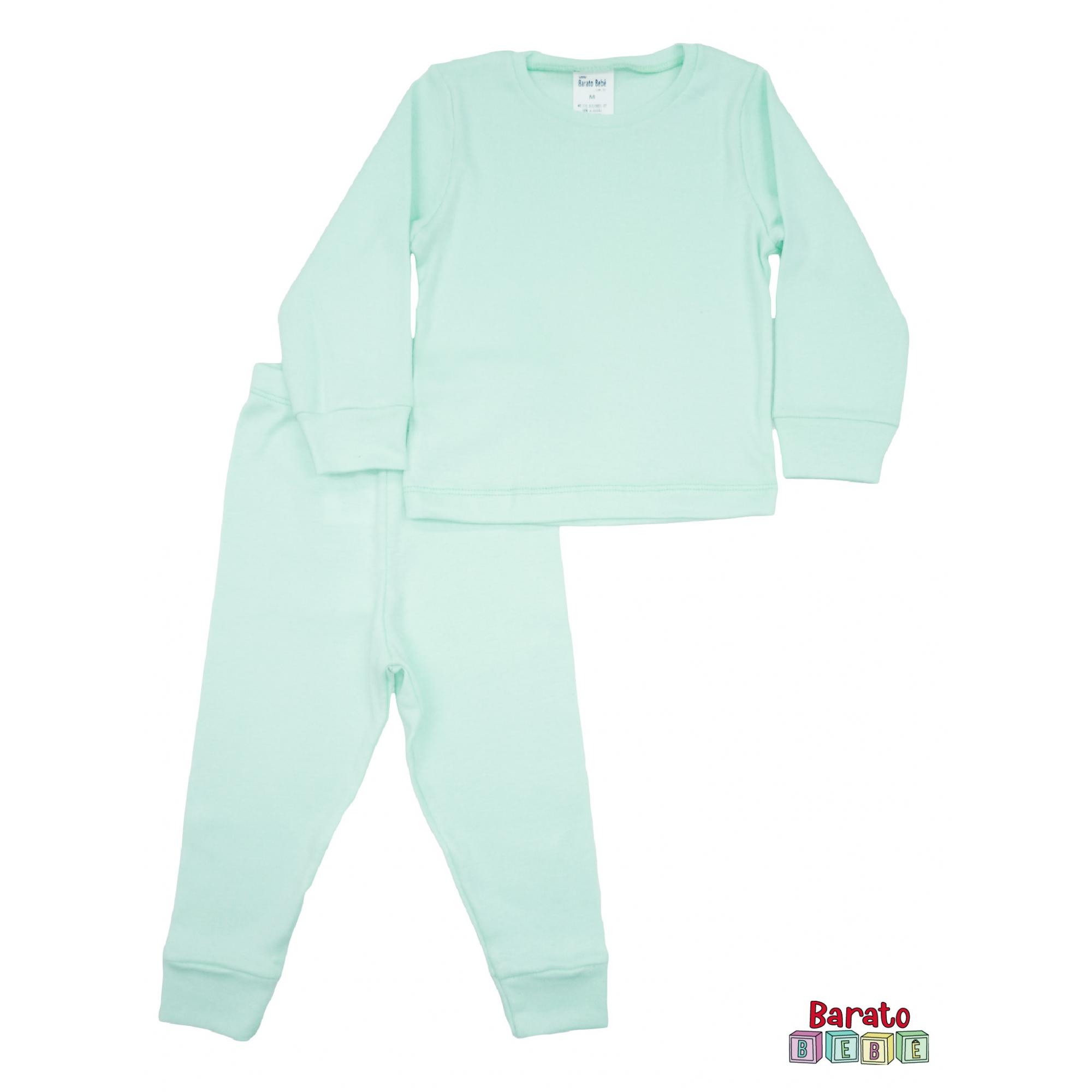 Conjunto Pijama Longo Bebê (P-M-G-GG)- Barato Bebê - Verde Agua - Liso