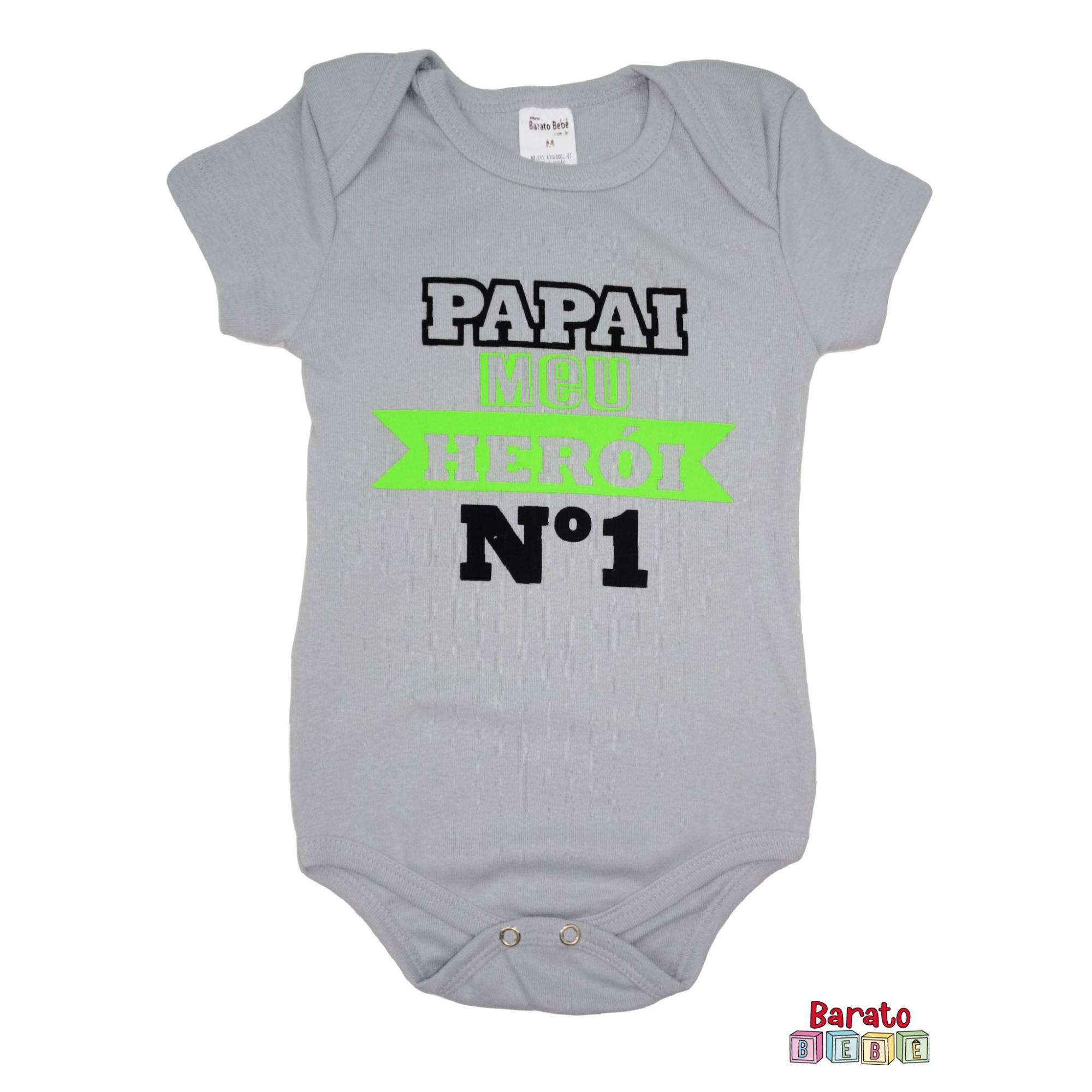 Body Bebê MC (P/M/G) -  Papai Meu Herói - Barato Bebê - Cinza