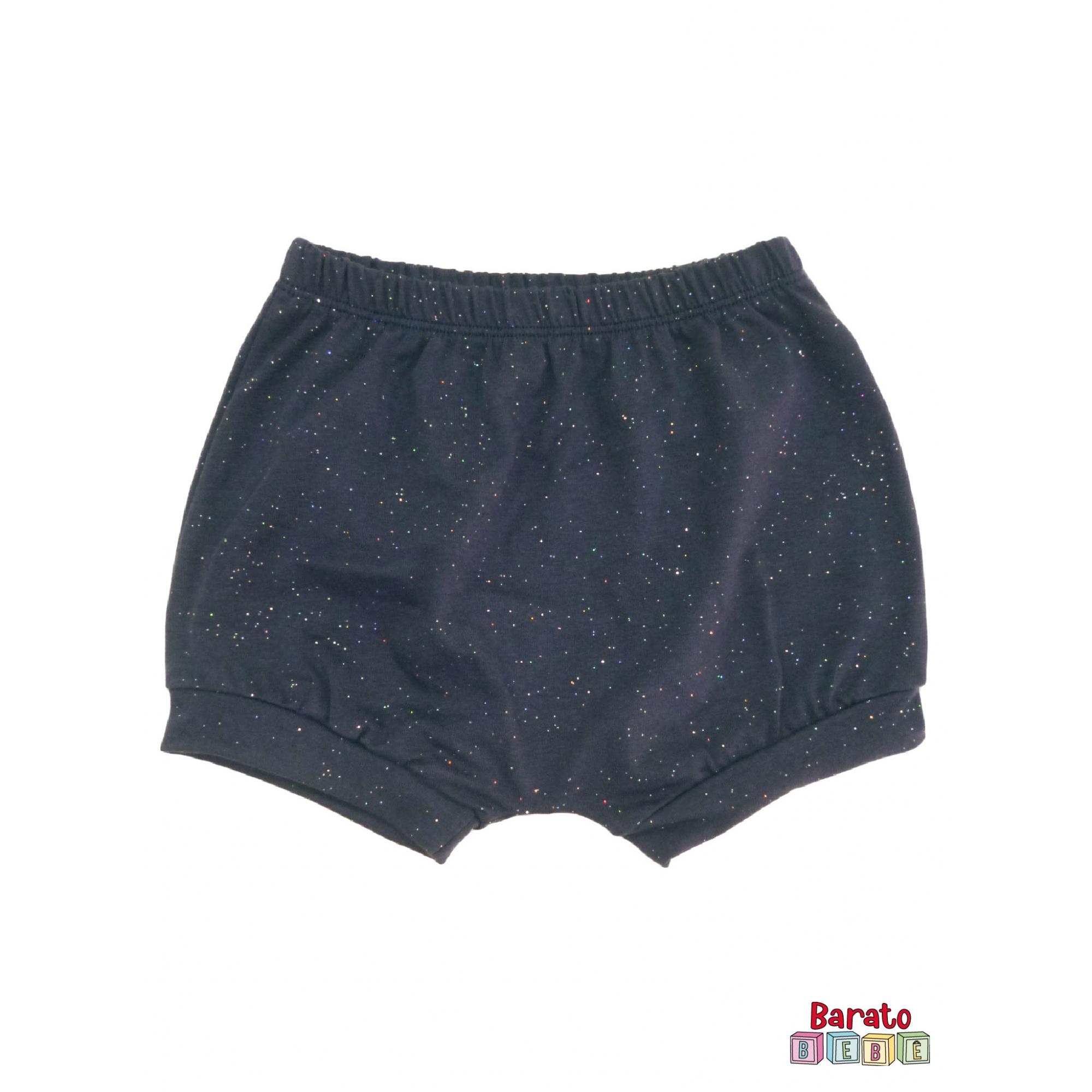 Shorts(Tapa Fralda) Bebê(P/M/G)  - Barato Bebê - Marinho c/ Glitter