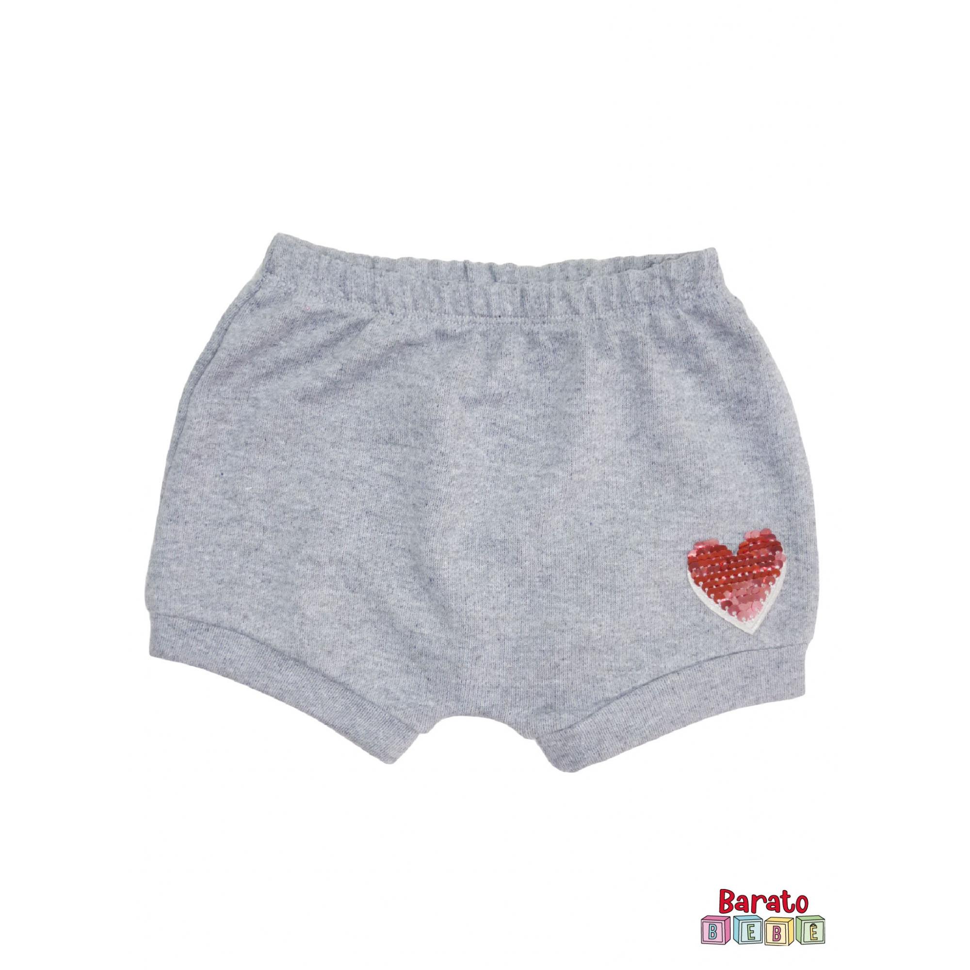 Shorts(Tapa Fralda) Bebê(P/M/G)  - Barato Bebê - Mescla C/ Aplique Coração