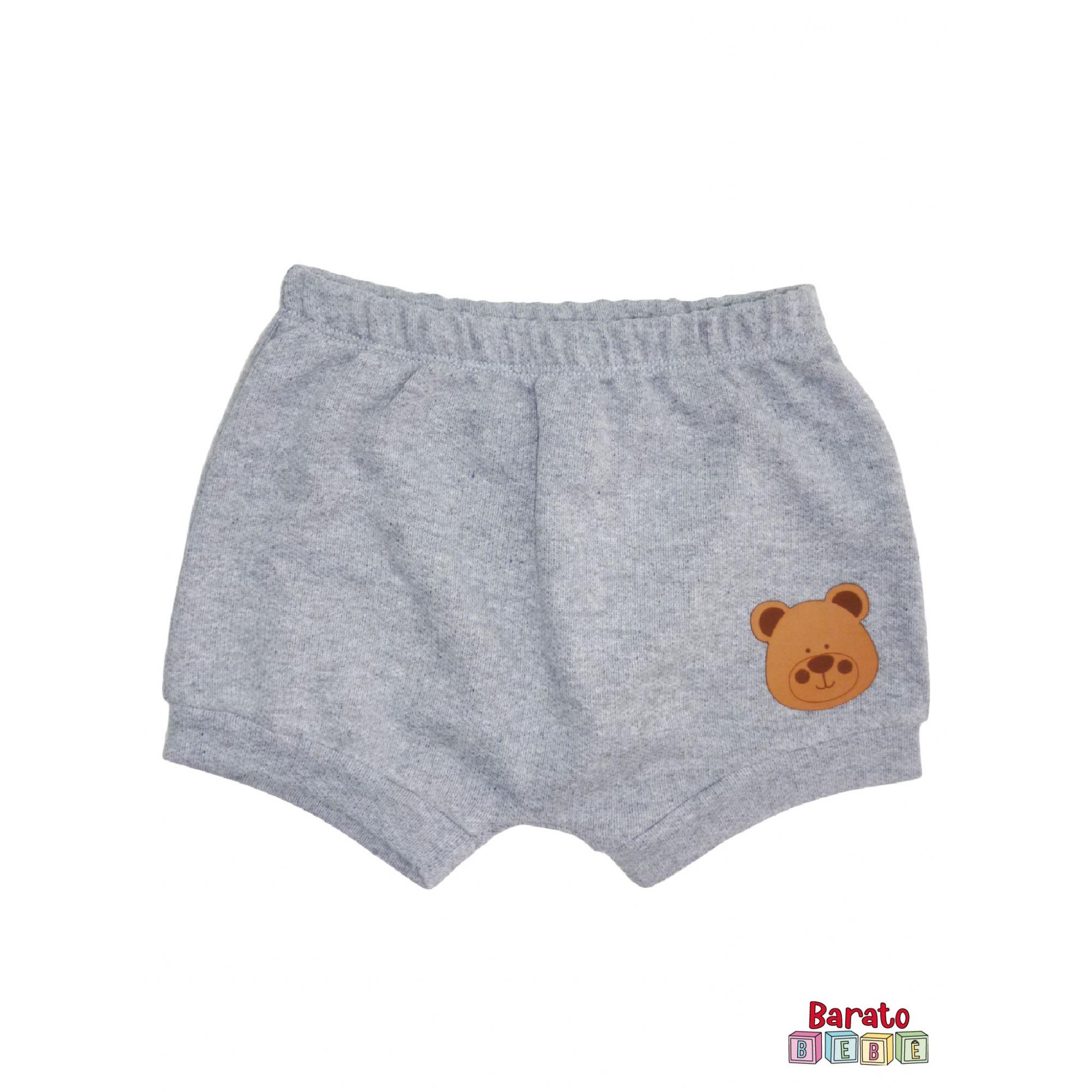 Shorts(Tapa Fralda) Bebê(P/M/G)  - Barato Bebê - Mescla C/ Aplique Ursinho