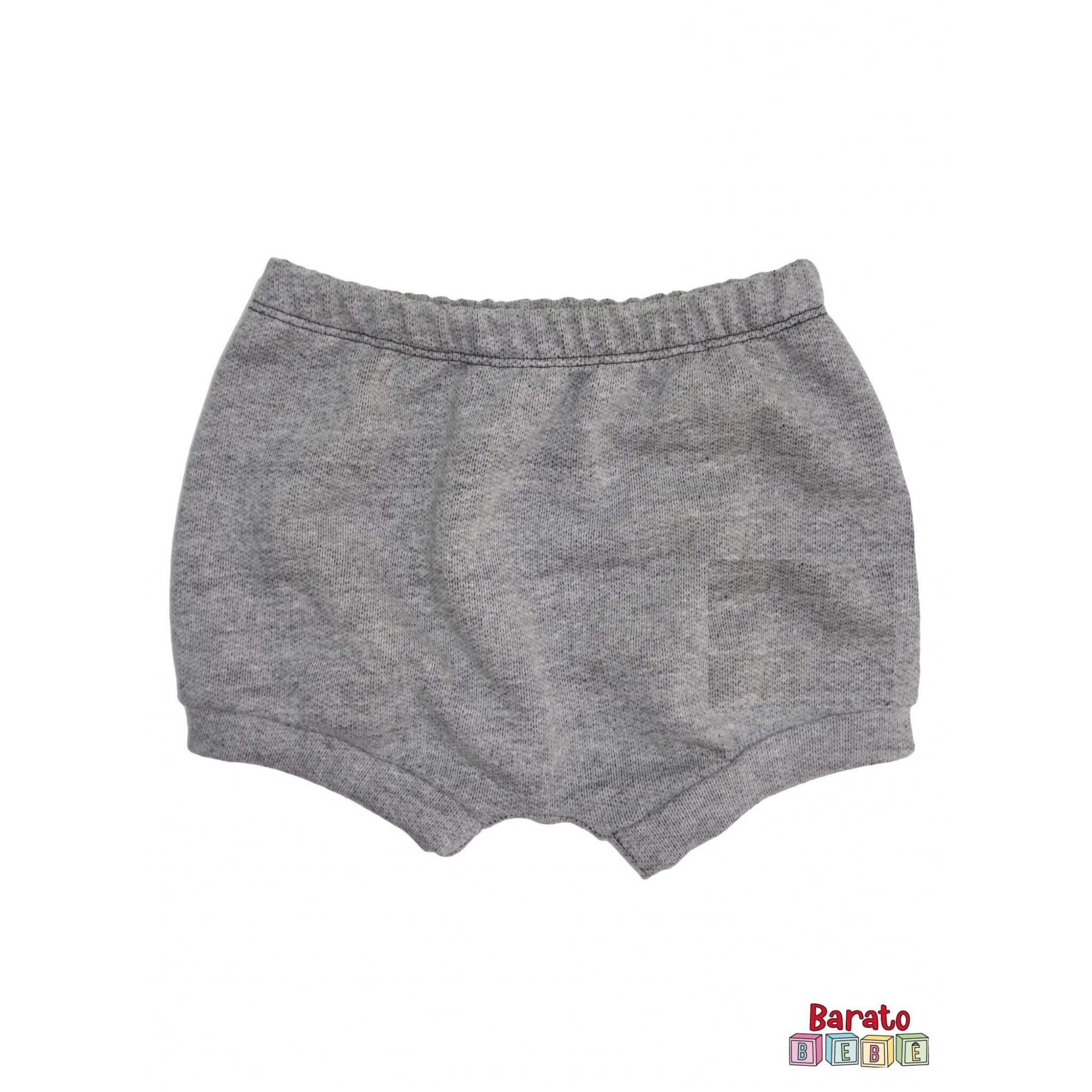 Shorts(Tapa Fralda) Bebê(P/M/G)  - Barato Bebê - Mescla Preto