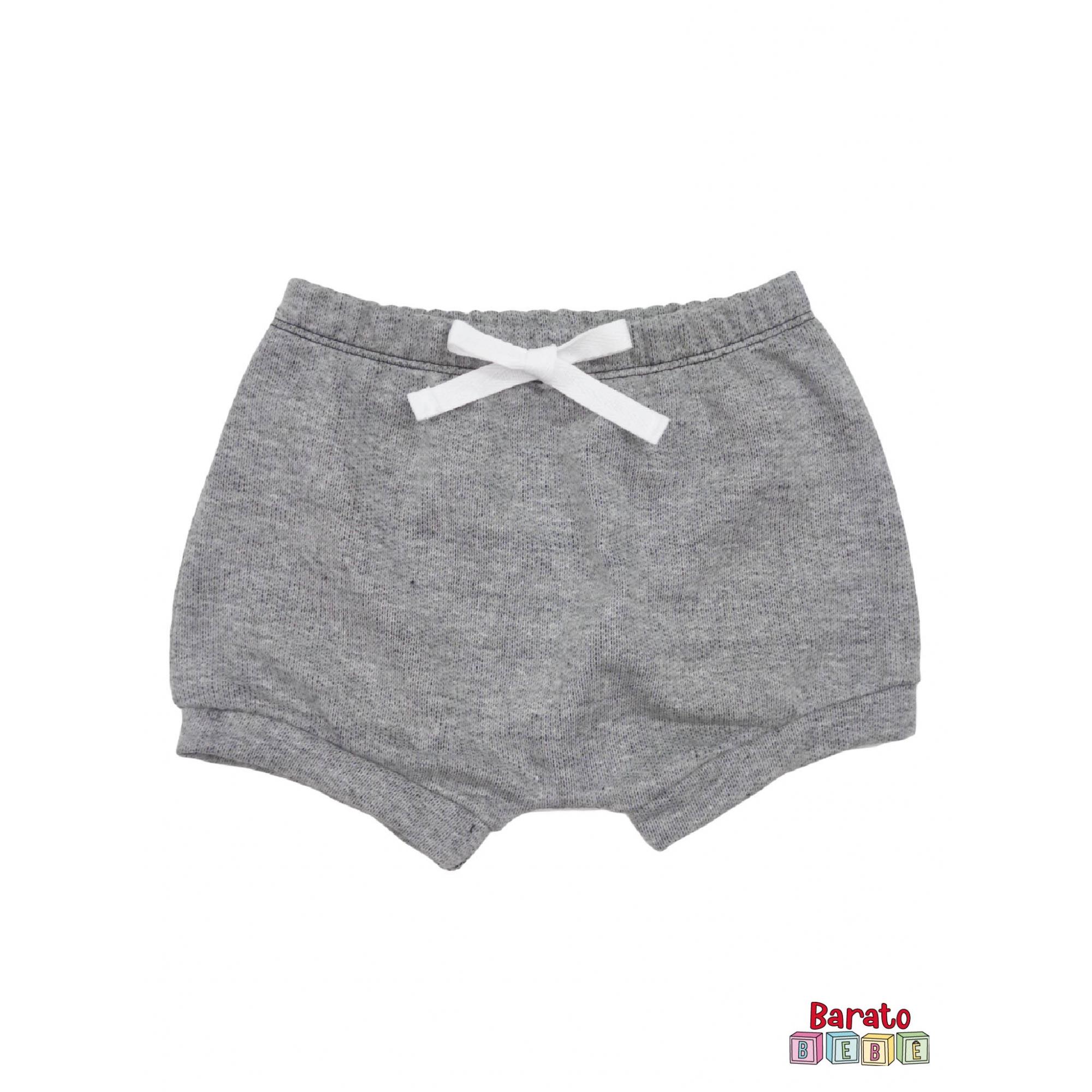 Shorts(Tapa Fralda) Bebê(P/M/G)  - Barato Bebê - Mescla Preto C/ Laço Branco