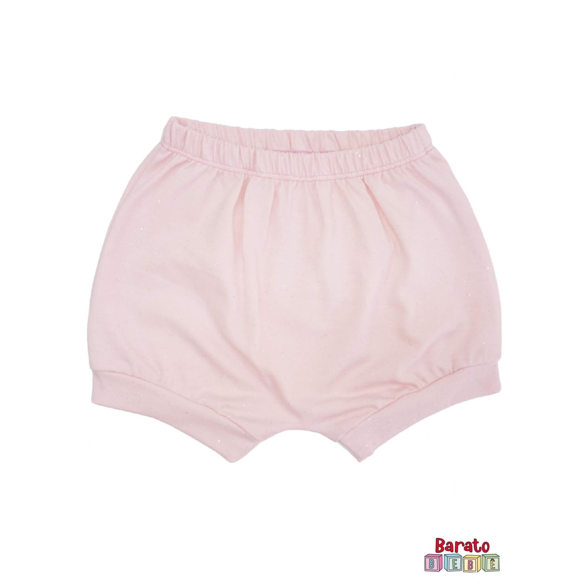 Shorts(Tapa Fralda) Bebê(P/M/G)  - Barato Bebê - Rosa c/ Glitter