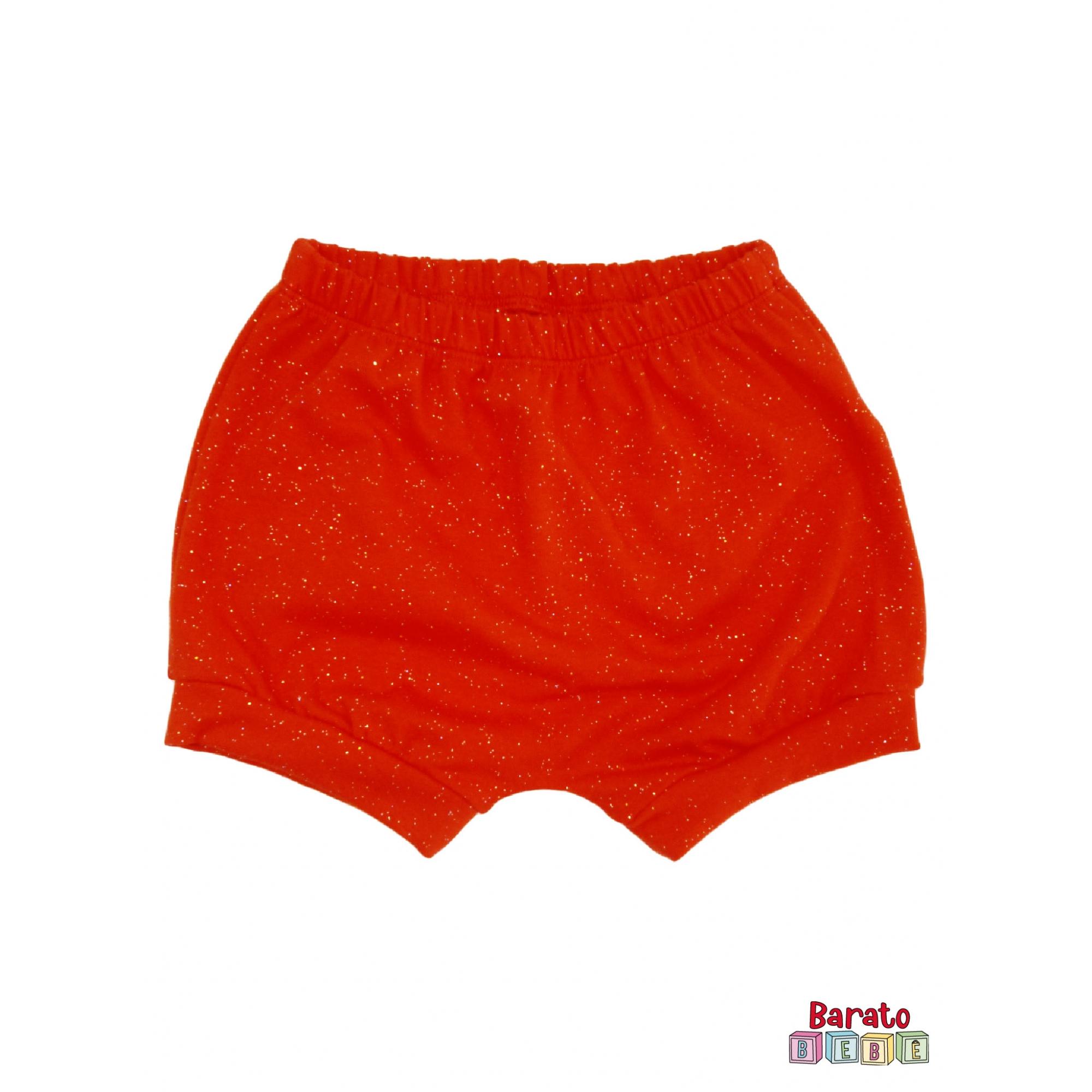 Shorts(Tapa Fralda) Bebê(P/M/G)  - Barato Bebê - Vermelho c/ Glitter