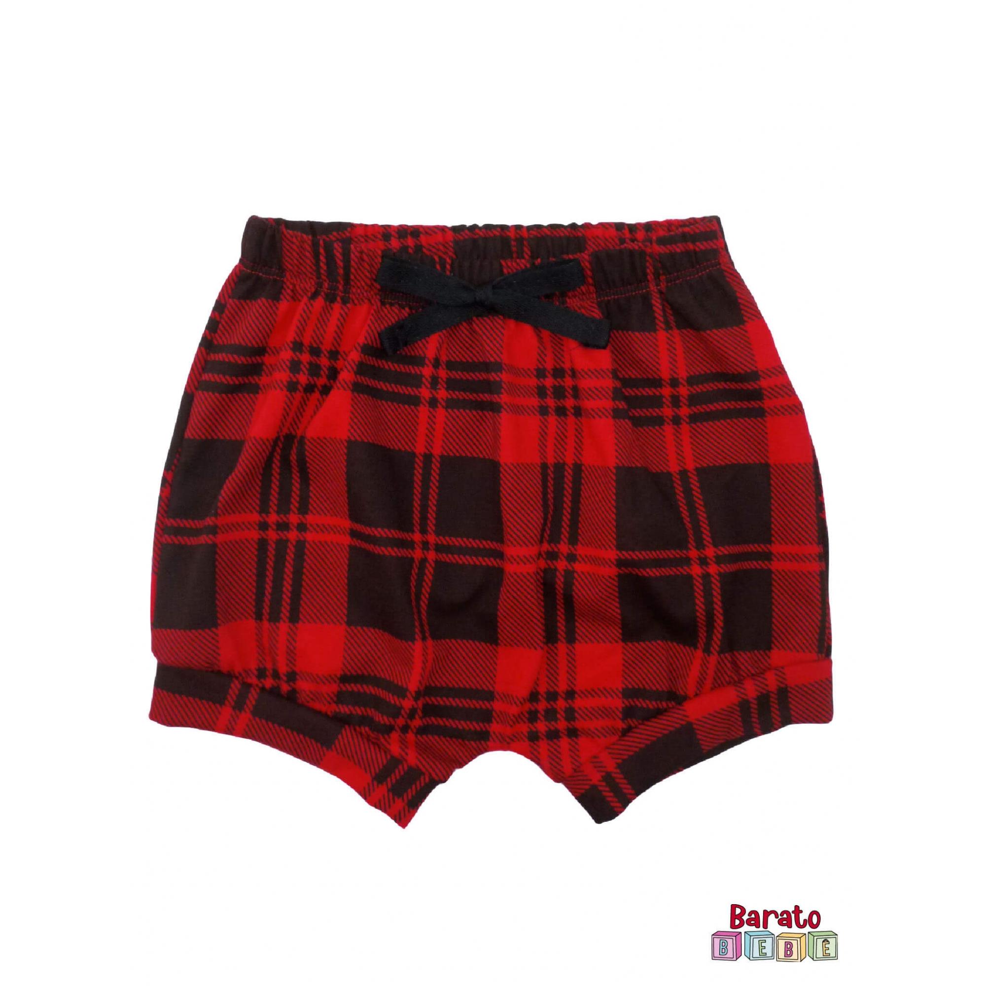 Shorts(Tapa Fralda) Bebê(P/M/G)  - Barato Bebê - Xadrez C/ Laço