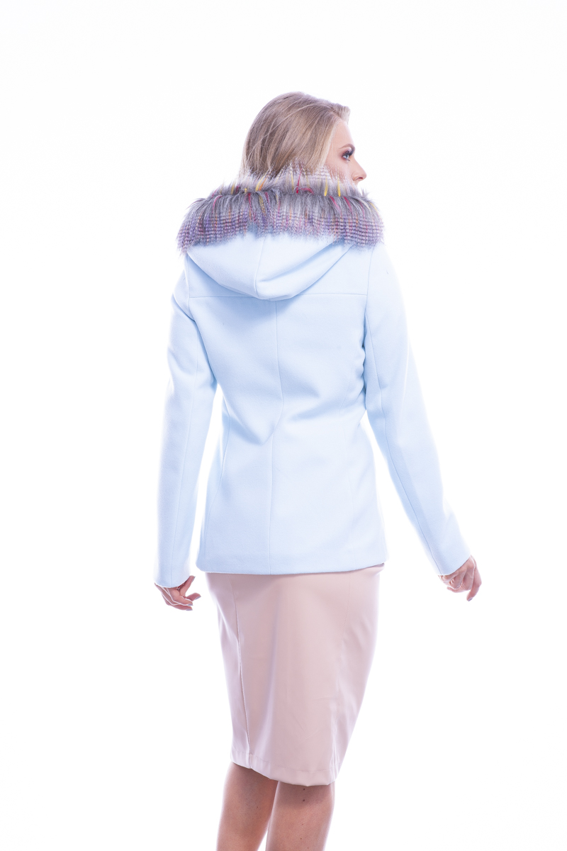 Blazer sintético com capuz removível Azul Neblina | Vanews