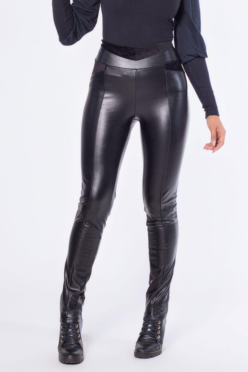 Calça ajustada PU apeluciada com recortes | Vanews