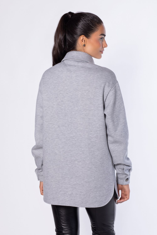 Camisa de moletom Cinza Mescla oversized  | Vanews