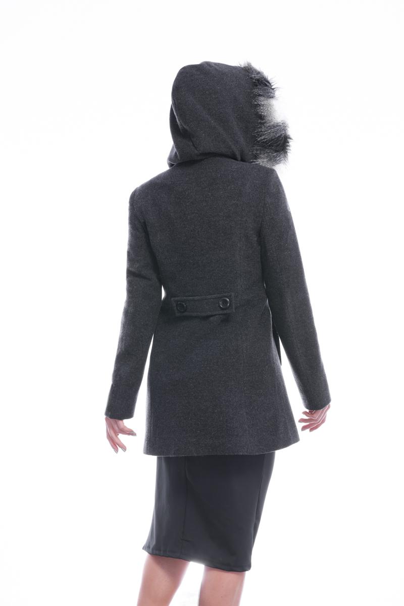 Casaco 3/4 de  lã com capuz e pele sintética | Vanews