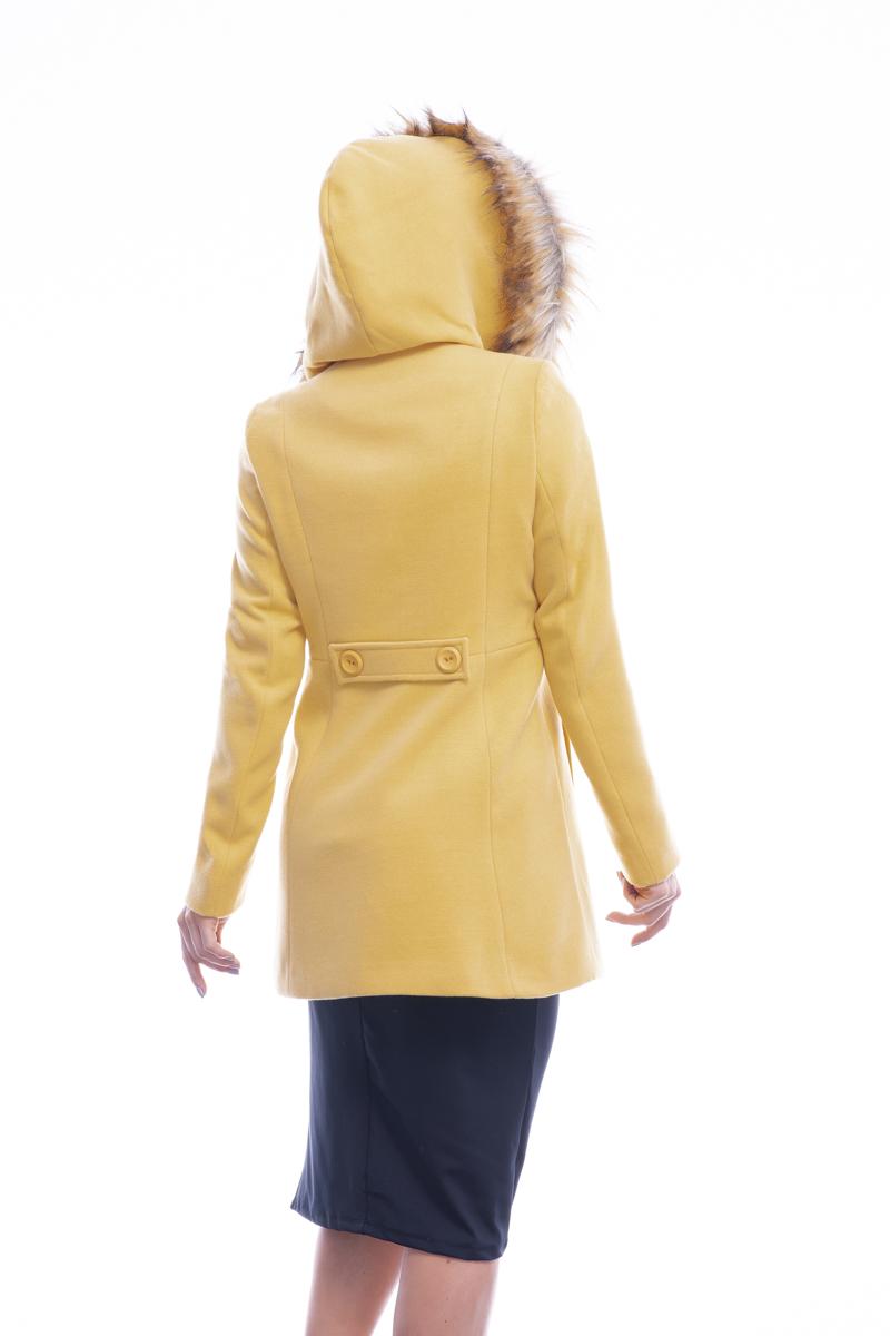 Casaco 3/4  sintético com capuz fixo Amarelo | Vanews
