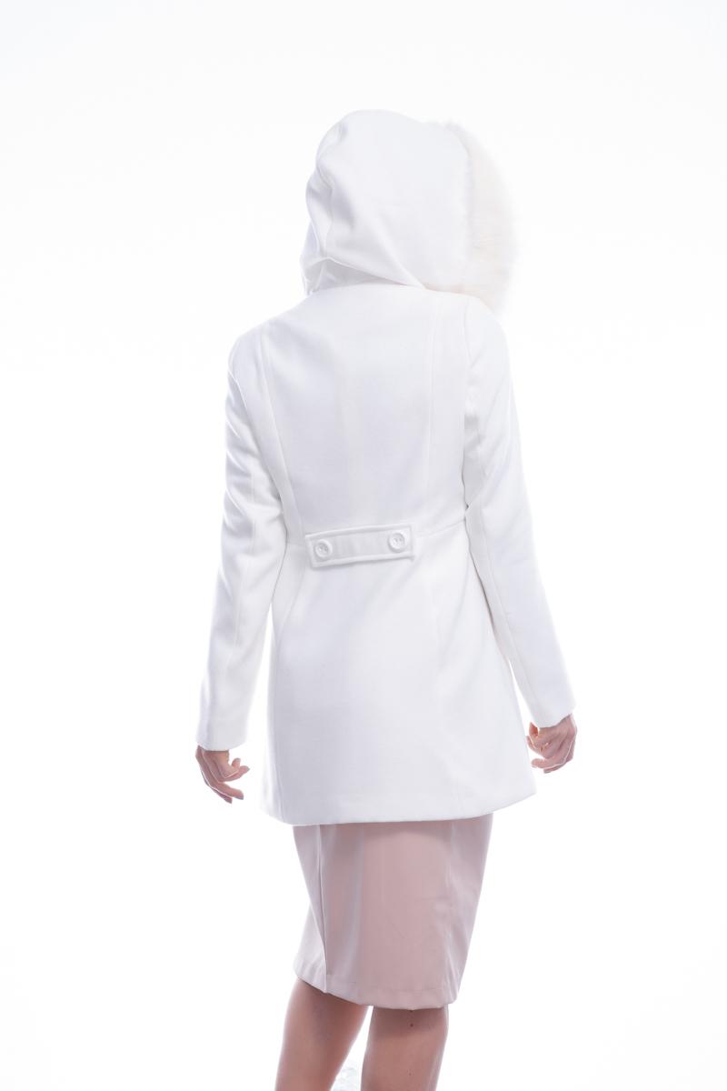 Casaco 3/4 sintético com capuz e pele sintética fixos Off-White   Vanews