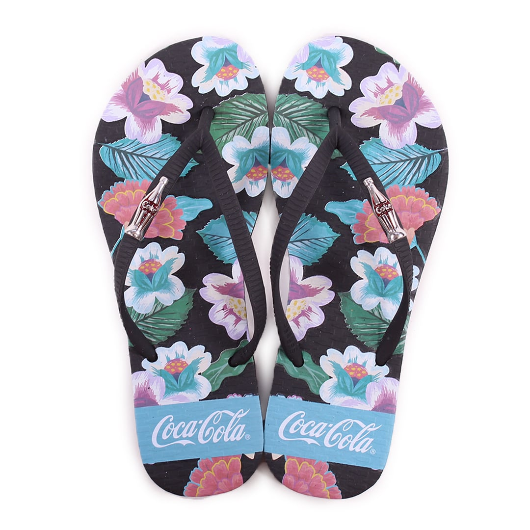 Chinelo Florido Coca-Cola Garden Feminino Preto CC3147