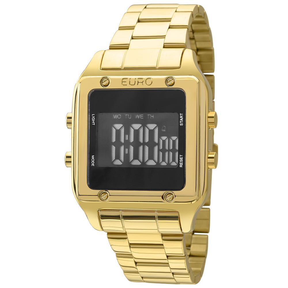 Relógio Quadrado Feminino Euro Digital Dourado