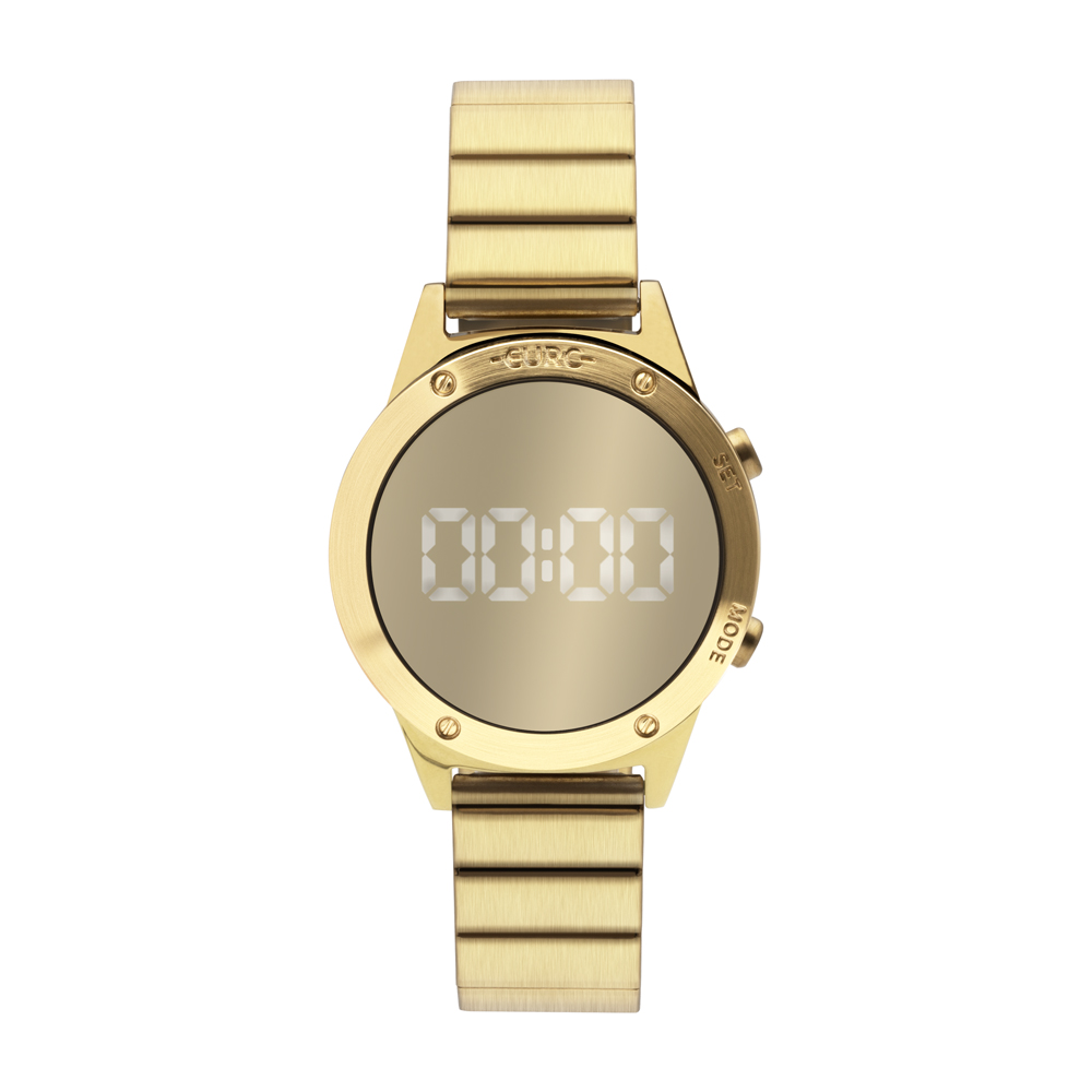 Relógio Euro Feminino Espelhado Digital Dourado