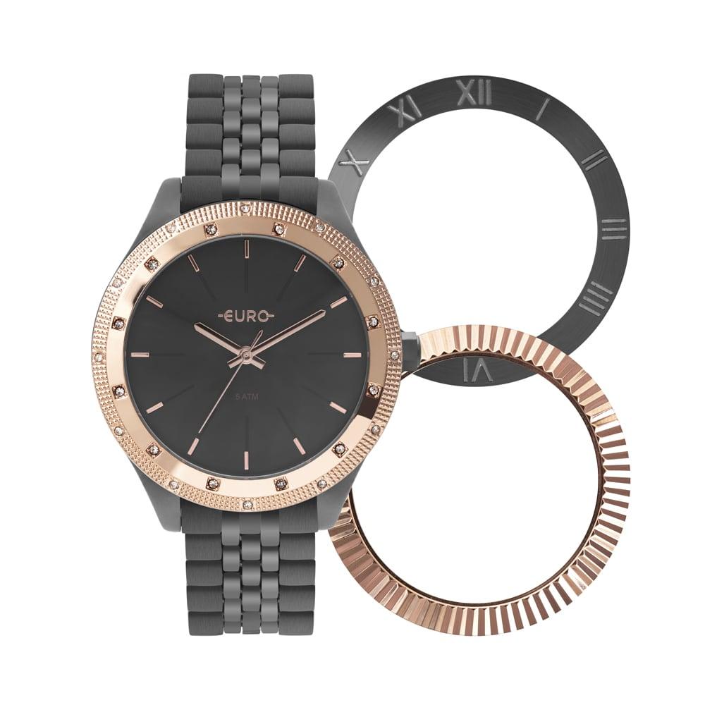 Relógio Euro Feminino Troca Aro Preto Analógico