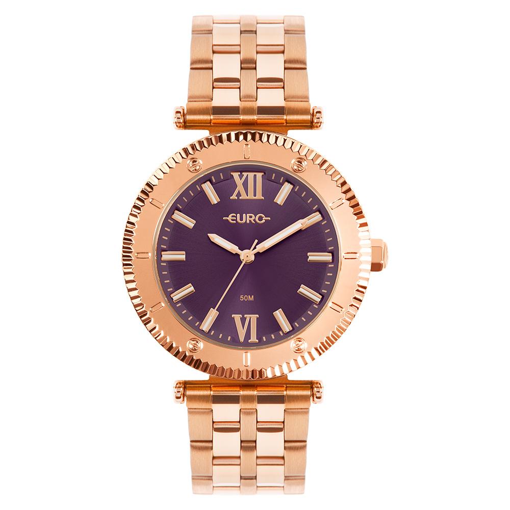Relógio Euro Feminino Boyfriend Rosé Metal Dourado