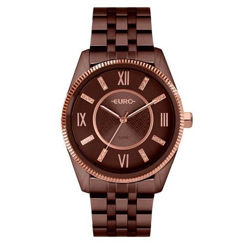 Relógio Analógico Feminino Euro Aro Rosé Meta Marrom
