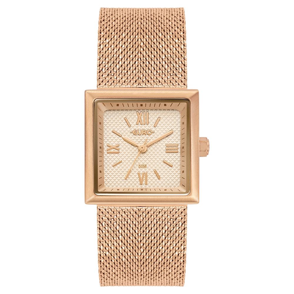 Relógio Euro Feminino Shiny Mesh Rosé
