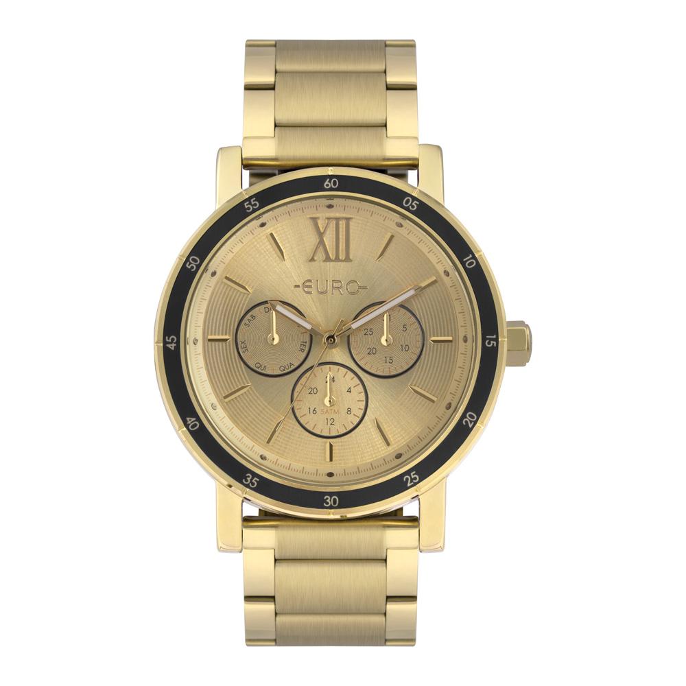 Relógio Euro Feminino Multiglow Metal Dourado