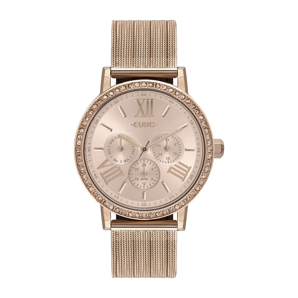 Relógio Euro Feminino Fashion Fit Rose Multifunção