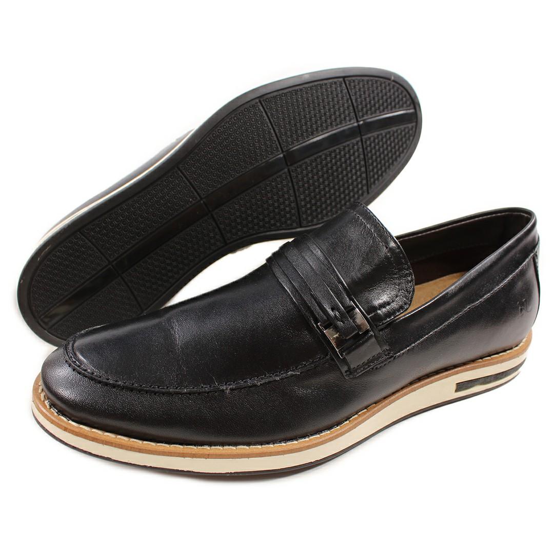 Sapato Casual Nevano Couro Masculino Preto