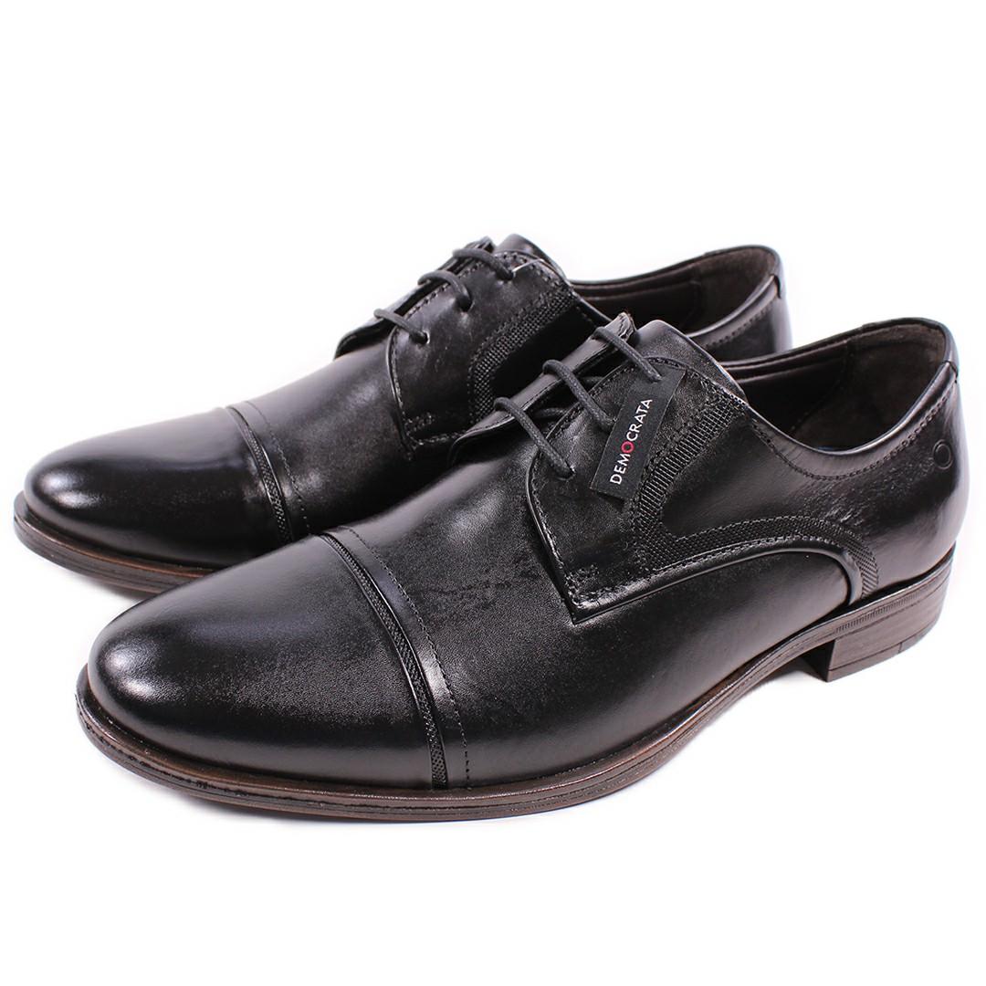 Sapato De Couro Democrata Smart Comfort Madison Hi-Soft 32 Preto Cadarço 255106-001