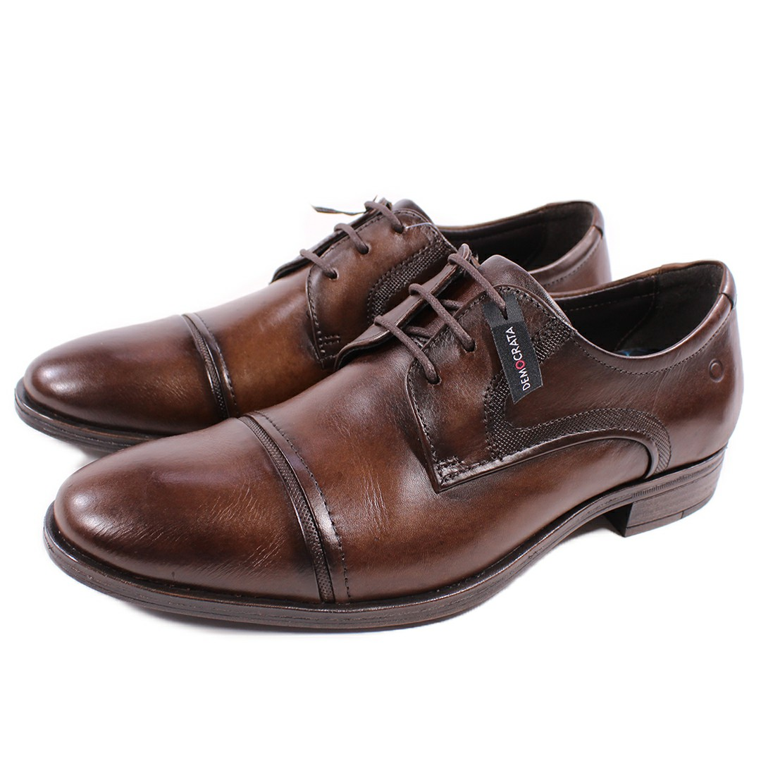 Sapato De Couro Democrata Smart Comfort Madison Hi-Soft 32 Tabaco Cadarço 255106-002