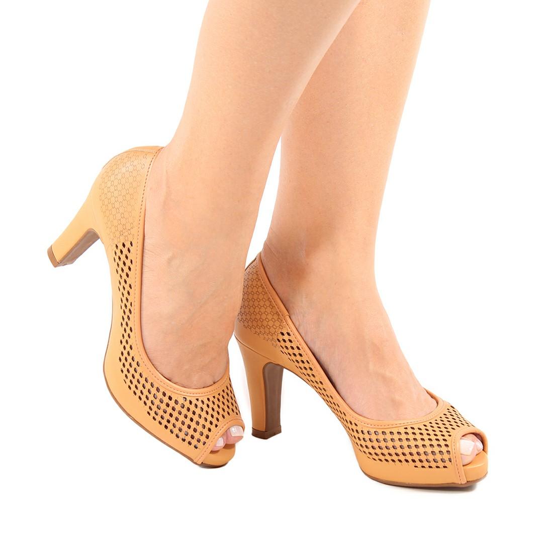 Sapato Feminino Vizzano Pelica Areia 1840.316