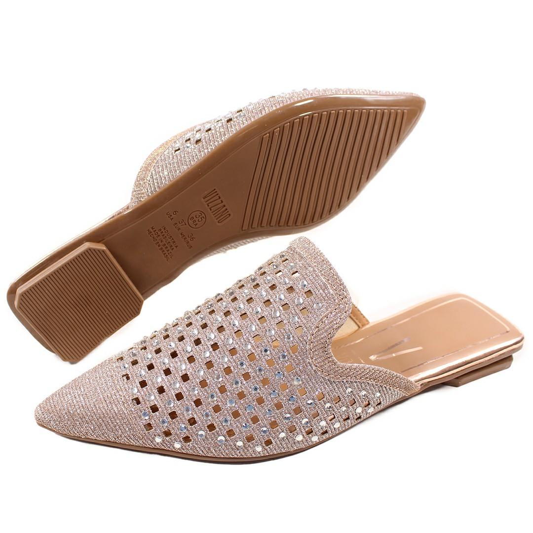 Sapato Feminino Vizzano Tecido Metal Canelado/Multi Rosa 1359.110