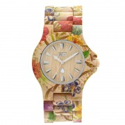 Relógio de Madeira WeWOOD Date Flower Beige