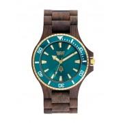 Relógio de Madeira WeWOOD Date MB Choco Rough Emerald