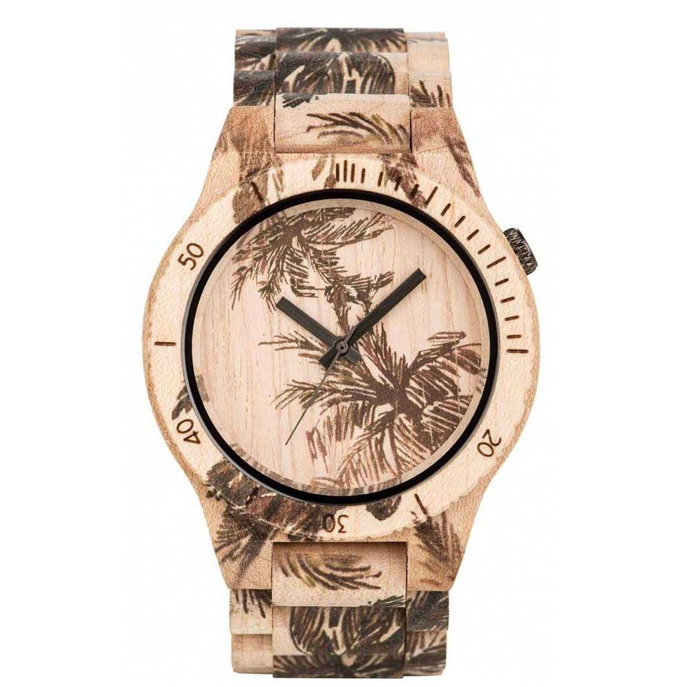 Relógio de Madeira WeWOOD Allium Print Palm Beige