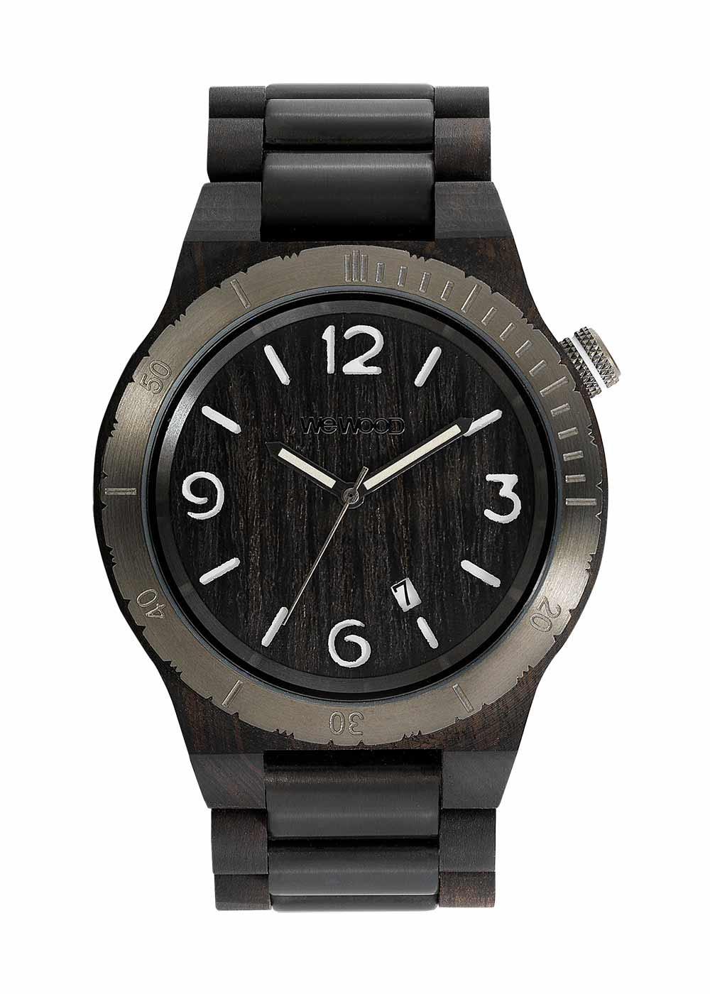 Relógio de Madeira WeWOOD Alpha ME Black Rough Gun
