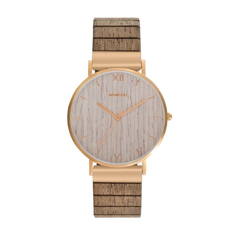Relógio de Madeira WeWOOD Aurora Rose Gold Apricot