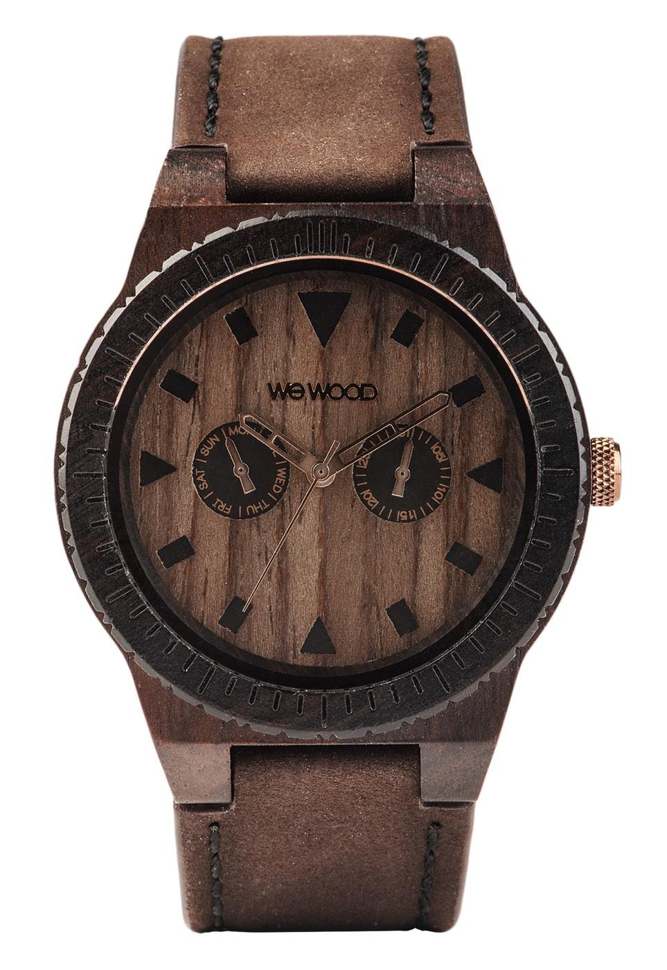 Relógio de Madeira WeWood Leo Leather Chocolate