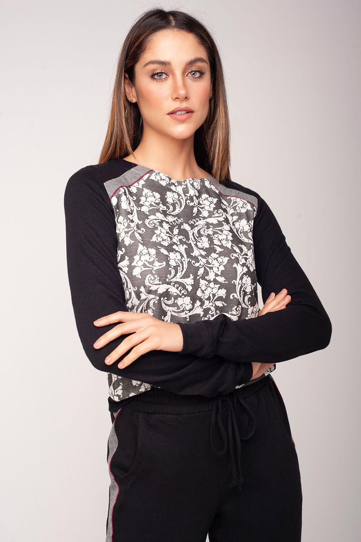 Blusa jaquard floral