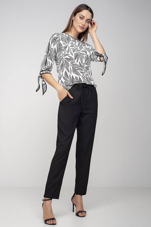 Blusa silk folhas com debrum