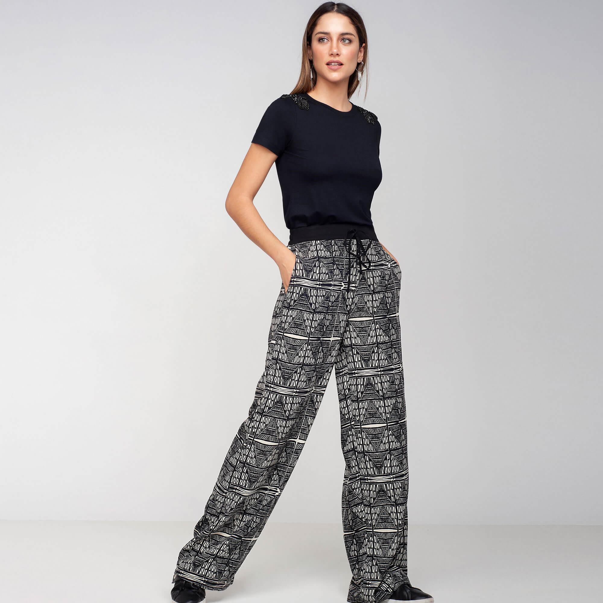 Pantalona crepe geométrico