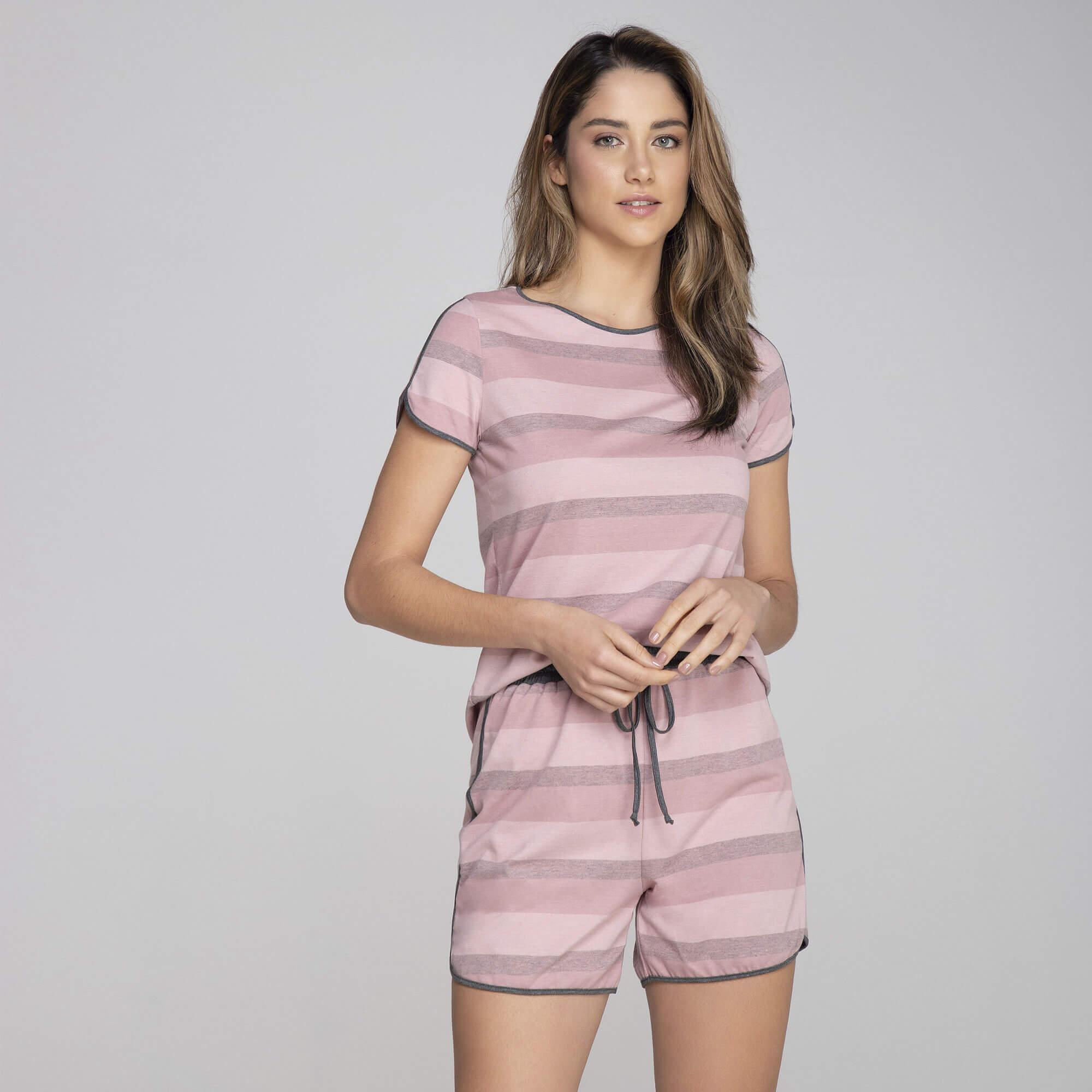 Pijama Curto Listras