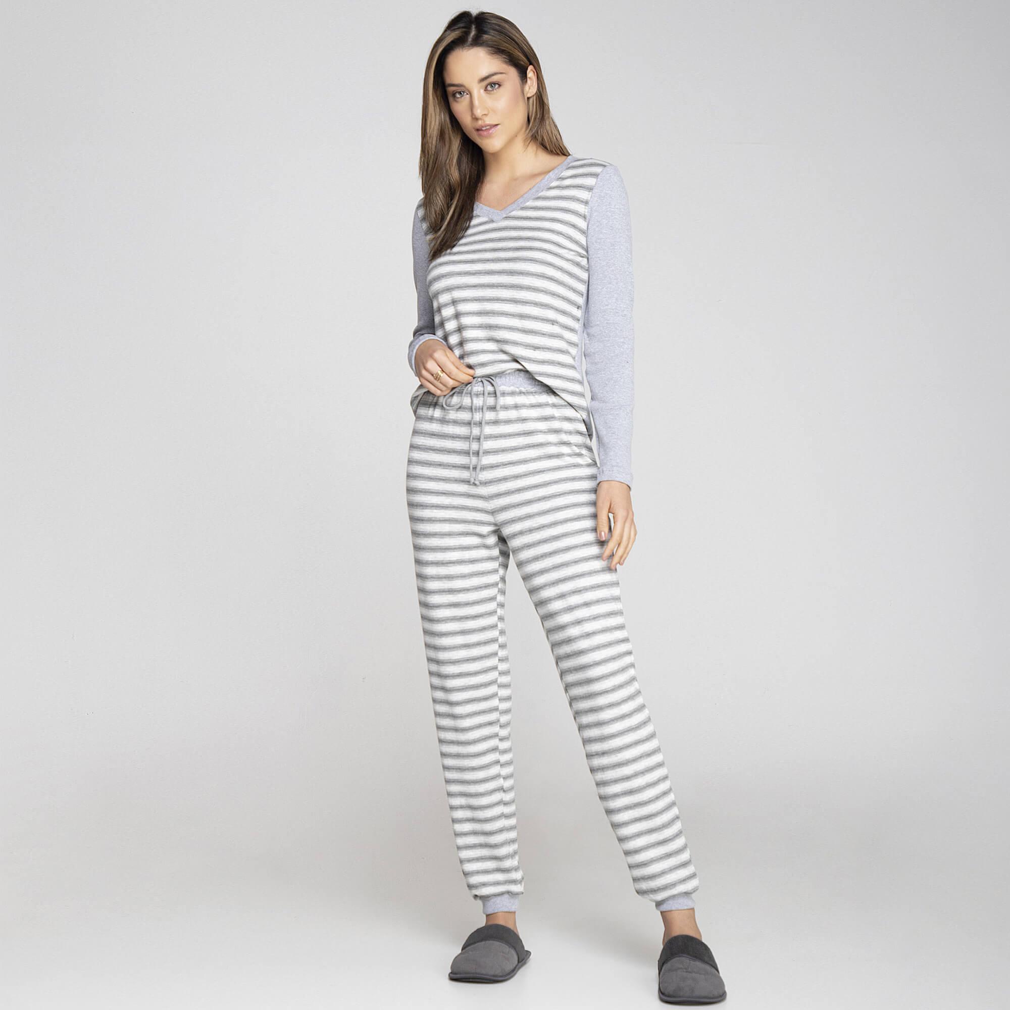 Pijama listras decote V